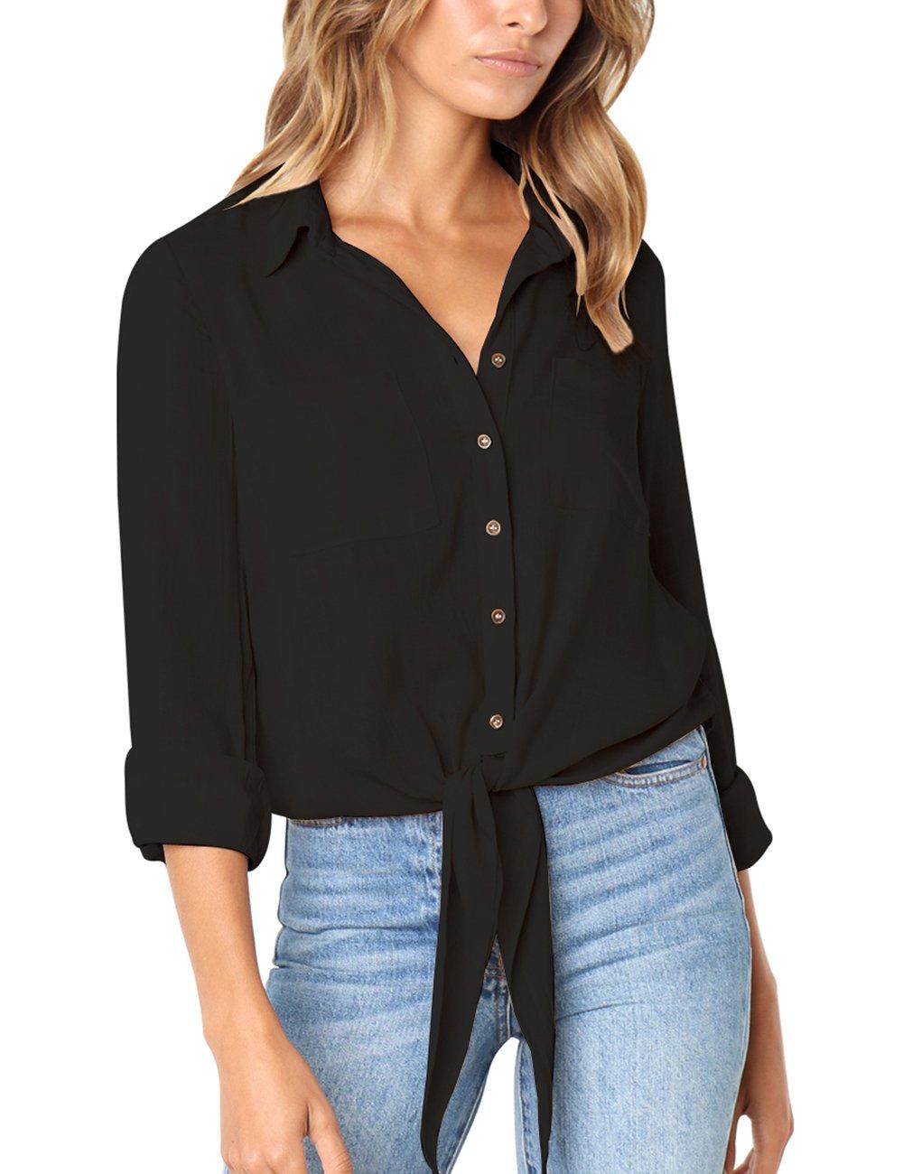 Semfri Womens Long Sleeve Button Down Tie Front Shirt Chest Pocket V Neck Blouse Tops(M,Black)