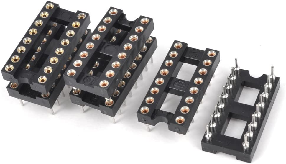 uxcell 14pcs 2.54mm Pitch 7.62mm Row Pitch 2 Row 28 Round Pins Soldering DIP IC Chip Socket Adaptor