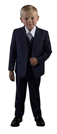 Boys Slim Fit Azul Marino Traje de niños para niños tallas: Amazon ...