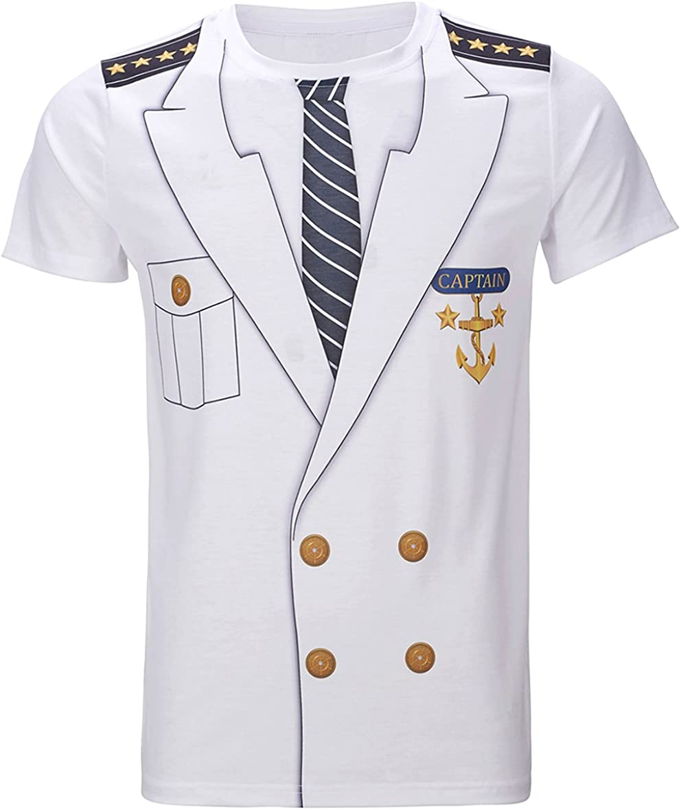 Funny World Men's Captain Costume T-Shirts