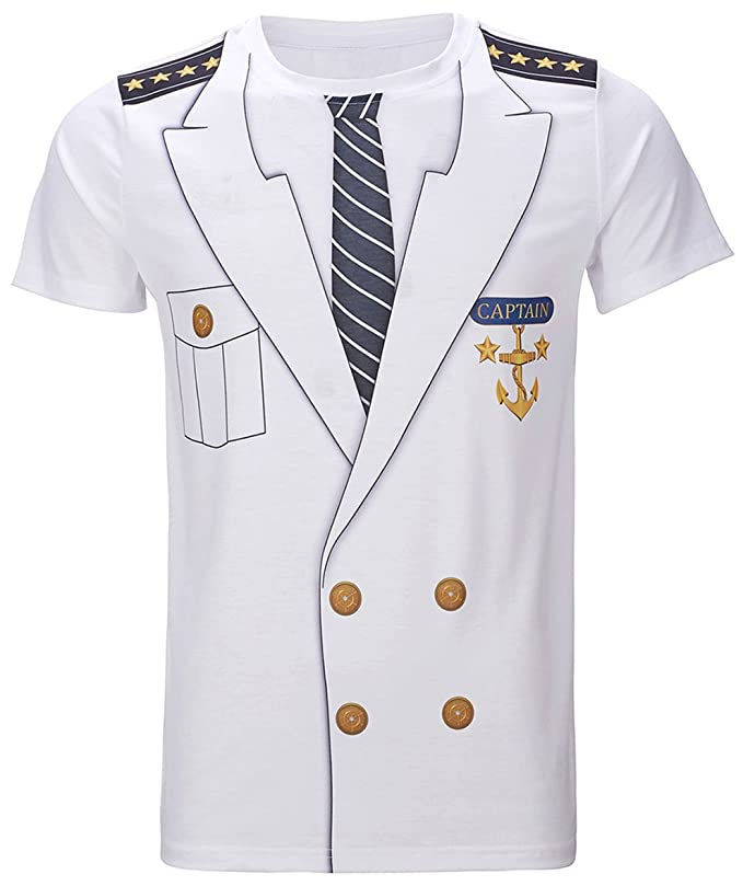 Funny World Men's Captain Costume T-Shirts (XL)
