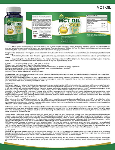 Maximum Potency 100% Pure MCT Oil Capsules 3000 mg I For Improved Energy and Brain Function I 120 Cold Pressed Softgels - Includes Bonus Keto Diet eBook by Totally Natural Remedies (Image #4)