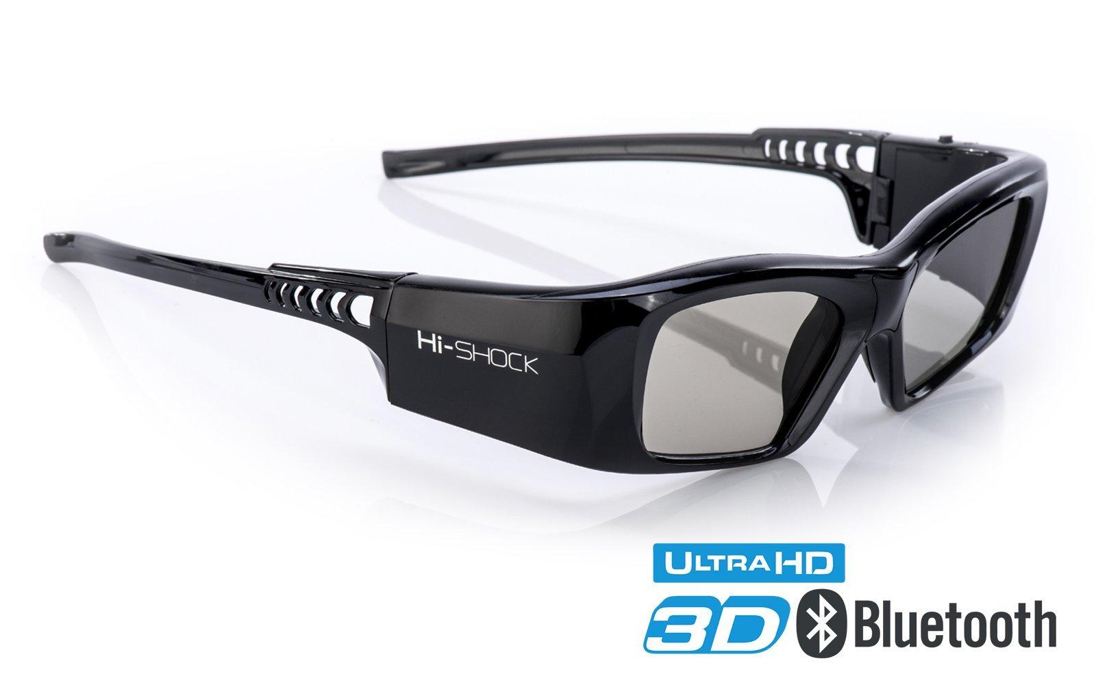 Samsung-Compatible Hi-SHOCK 3D active Glasses | Rechargeable | For 2013-2018 SAMSUNG, SHARP, LG Plasma, PANASONIC, Sony Full HD/HDR/4k TV |''Black Diamond''