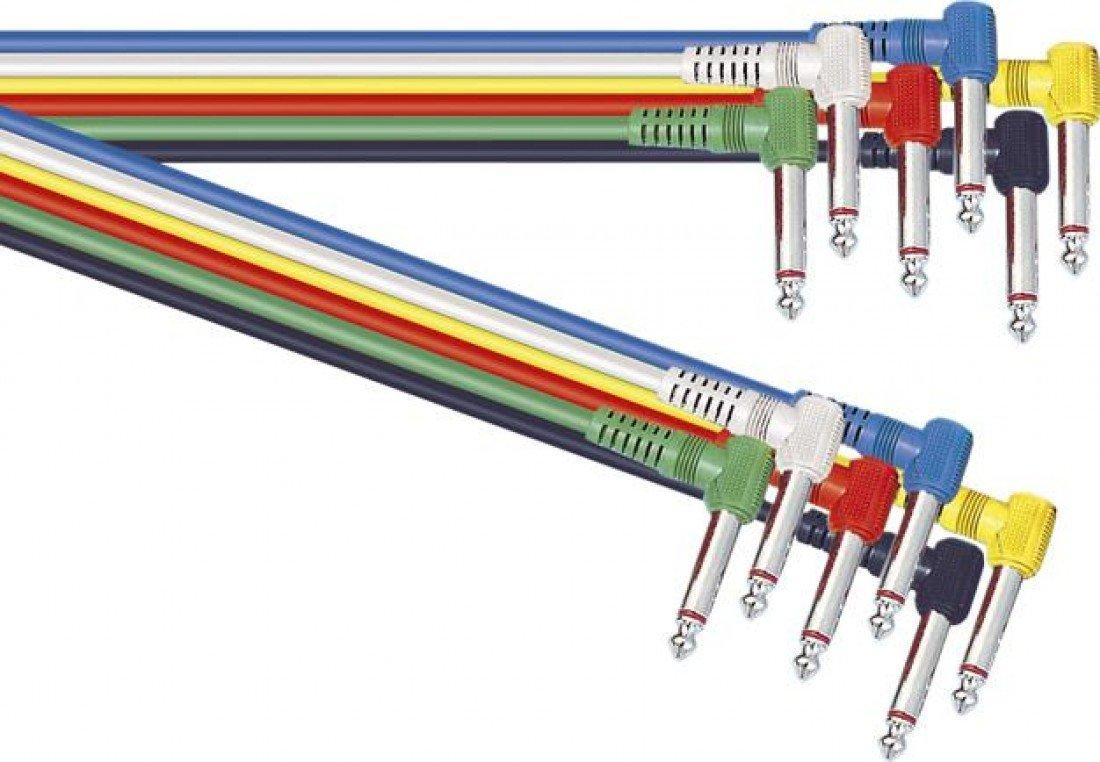 Assorted Coloured 0.3/m Single Core Screened 6.35/mm Right Angled Mono Jack Plug to 6.35/mm Right Angled Mono Jack Plug