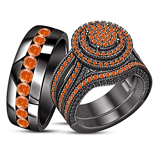 Orange Sapphire Wedding Set - TVS-JEWELS Solid Black Rhodium Plated Over 925 Sterling Silver His & Her Engagement Trio Ring Set (Orange)