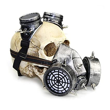 XIKAKI Biohazard Steampunk Gas Mask Gafas Spikes Skeleton Warrior Máscara de Muerte Mascarada Cosplay Halloween Disfraz