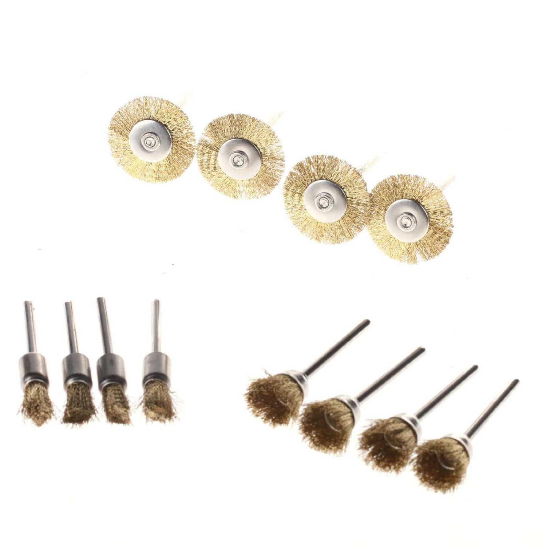 SHINA 45pcs Brosse en laition pour nettoyage polissage pour accessoires Outils Dremel rotatifs 3 en 1 brosse couronne brosses en bout Brosses boisseau