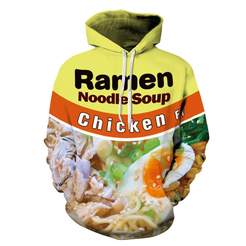 FuweiEncore Männer Hoodie, Japanisches Essen, Ramen Sweatshirts, Essen Kleidung, Ramen Hoodie, Essen Kleidung, Nudeln Hoodie, 3D Hoodie Nudeln (Farbe   1, Größe   M) (Farbe   1, Größe   XXXL)