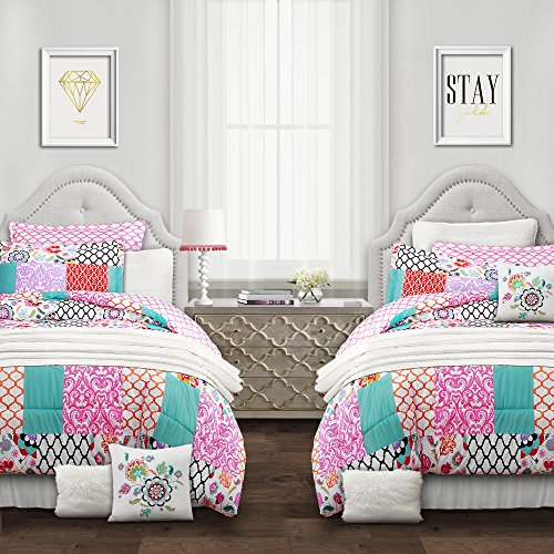 - Lush Decor Multi, Full/Queen Brookdale Patchwork 7 Piece Comforter Set