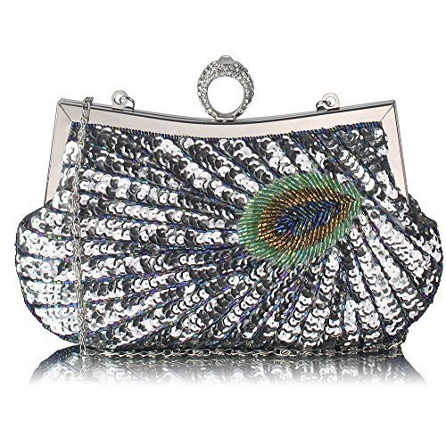 TrendStar - Cartera de mano para mujer A - Silver Peacock Feather Clutch