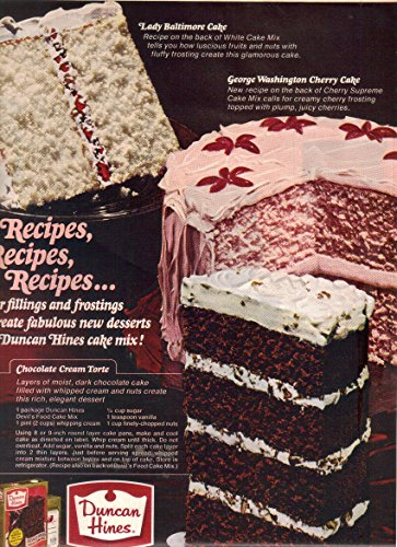 Vintage Print Ad: 1967 Duncan Hines Lady Baltimore Cake, George Washington Cherry Cake, Chocolate Creme Torte, ()