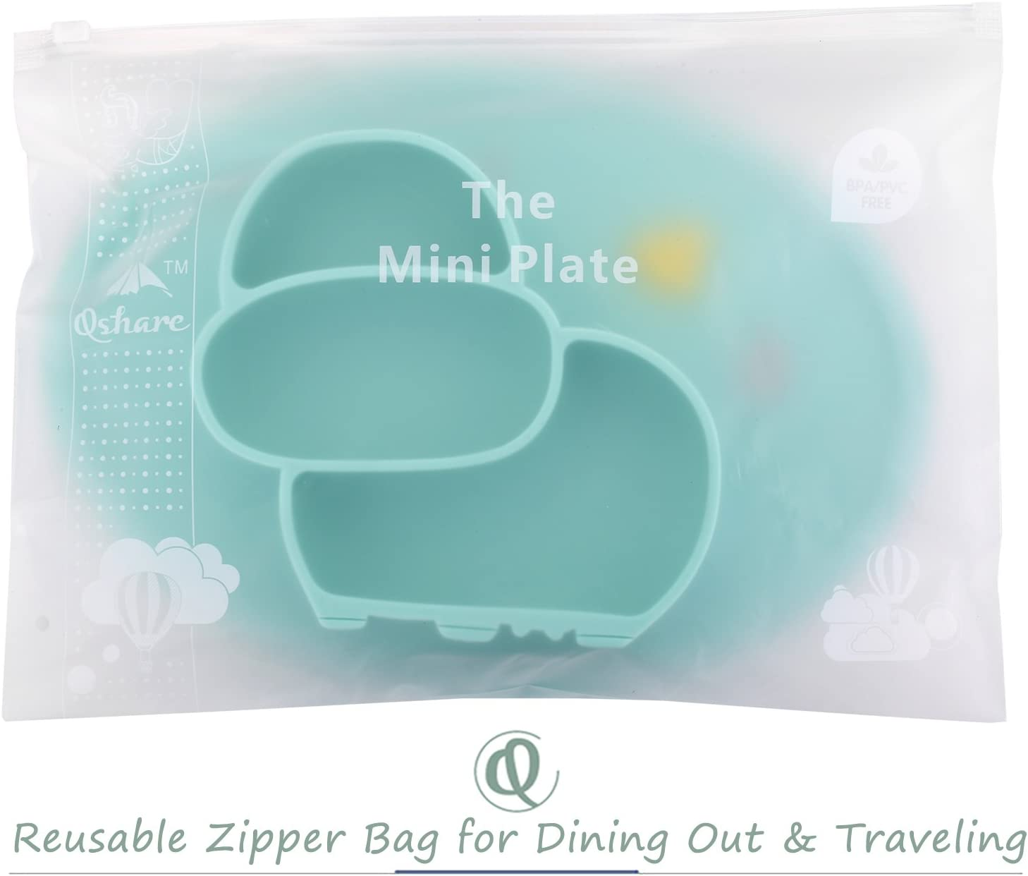 BPA-Free FDA Approved Strong Suction Plates for Toddlers Dishwasher and Microwave Safe Silicone Placemat 28 * 20 * 3cm Qshare Toddler Plate Portable Baby Plate for Toddlers and Kids