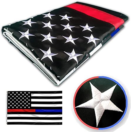 Thin Blue Line Police /& Thin Red Line Firefighter 3x5 Ft with Embroidered Stars