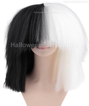 Amazon.com   Halloween Party Online SIA Black   White Wig Extra ... 768c82e922f7