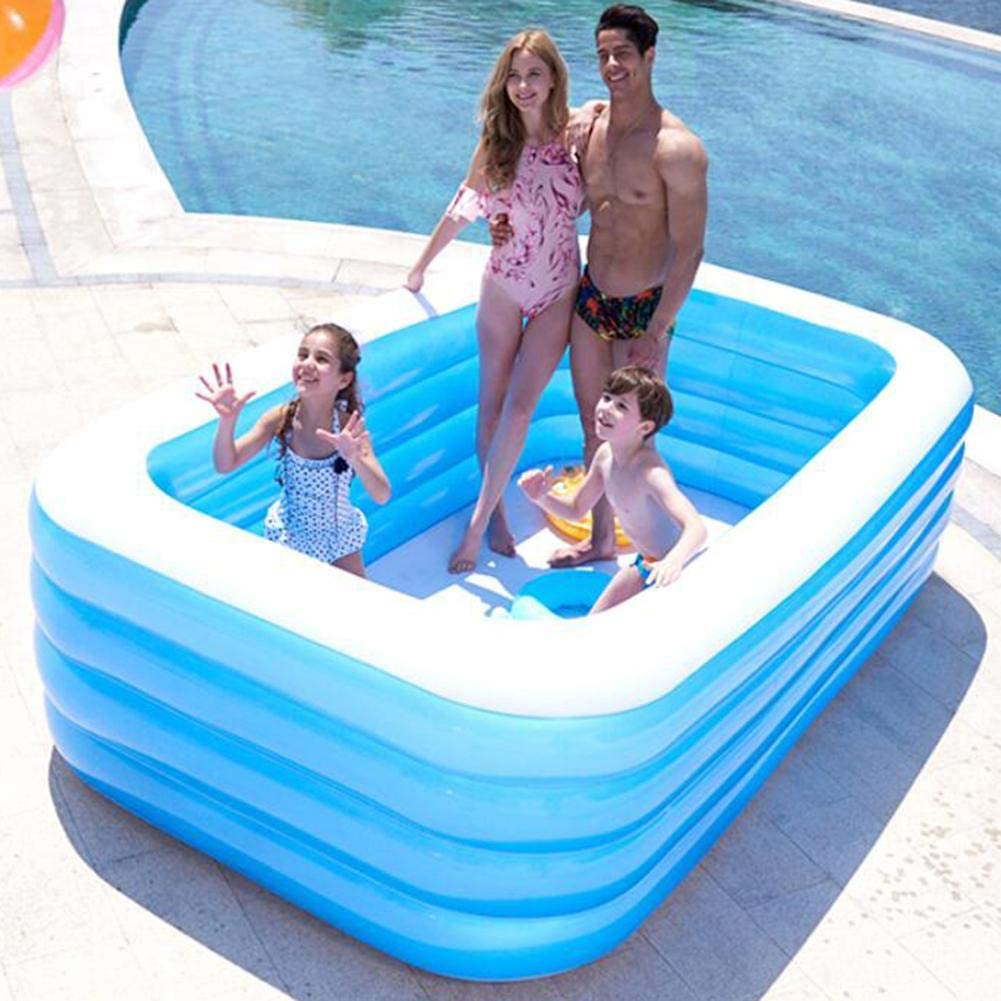 Junean Piscina Inflable Cristal Azul para ni/ños Adultos Piscina Inflable para ni/ños Piscina Familiar