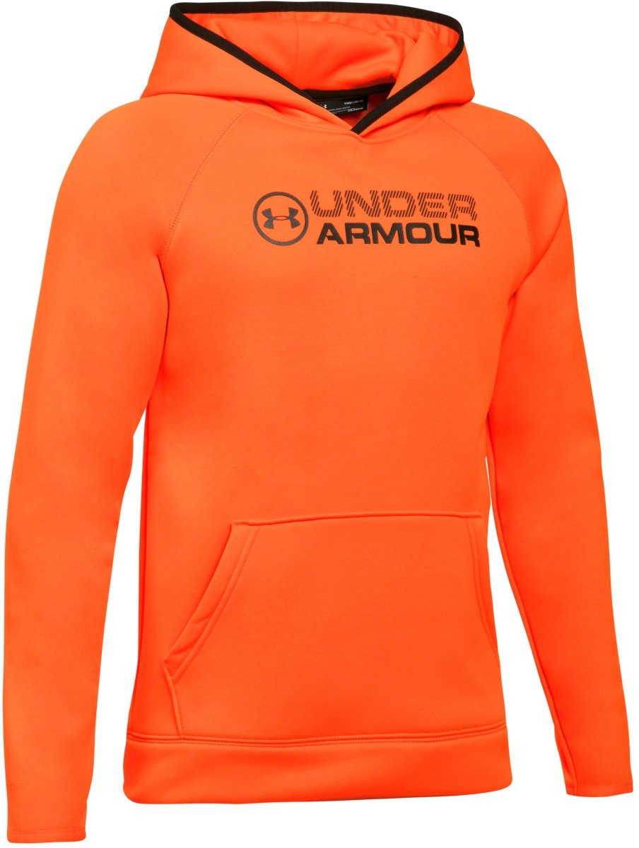 Under Armour Outerwear Boys Fleece Stacked Hoodie, Blaze Orange/Black, X-Small by Under Armour
