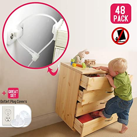2x Furniture /& TV Adjustable Safety Straps For Baby Proofing and Child Safety