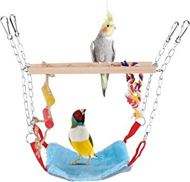 Morbido Pappagallo Altalena Corda Scalare la Rete Appesa Amaca Gabbia Accessori Piccolo Giocattolo attivit/à Animale HEEPDD Bird Toys