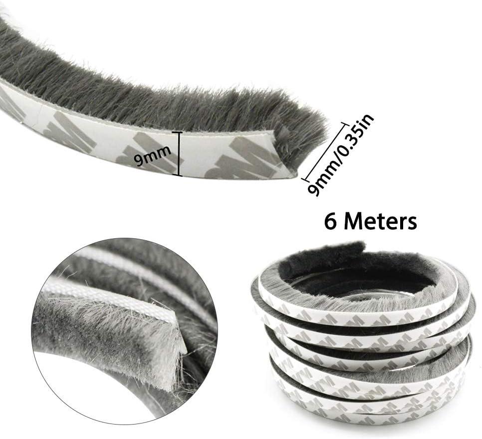 IWILCS 6m coupe-vent /étanche /à la poussi/ère bande de brosse autocollante,joint de brosse autocollant,joint de plancher de porte, ruban d/étanch/éit/é pour fen/être de porte 6 m/ètres, gris 9 x 9 mm