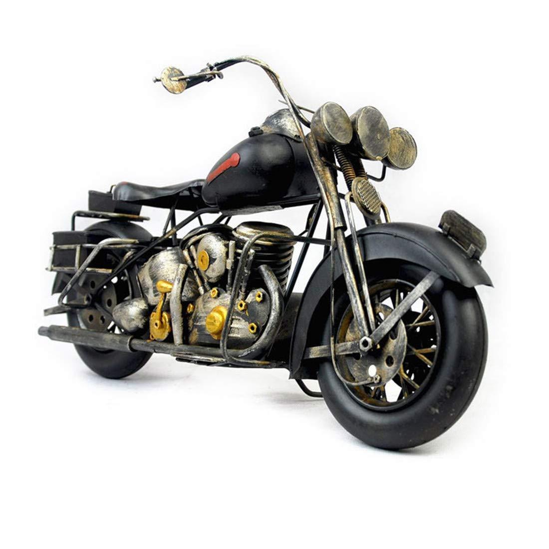 VJUKUB Antiguuml;edad Harley Motocicleta Modelo Hojalata Hecho A Mano Retro Hierro Arte Casa Coche Decoración Decoración Arreglo Fotografía Props 41  16  21Cm