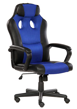 SEATZONE Smile Face Series Leather Gaming Chair, Executive Office Swivel Chair, Racing Style Large Bucket Seat Computer Desk Chair, with Headrest, Blue