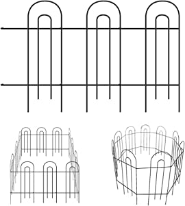 MIXXIDEA Garden Fence Border Metal Decorative Garden Fencing Folding Rustproof Wrought Iron Garden Fence Animal Barrier Landscape Wire Fencing Edge Flower Bed Border Outdoor 14 Panel 31.5inx20ft Black