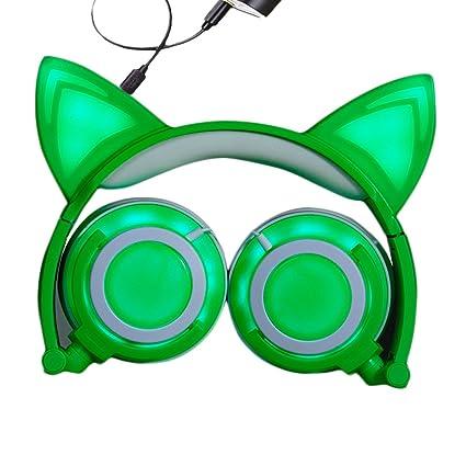 Amazon Com Cat Ear Kids Headphones Rechargeable Led Light Up