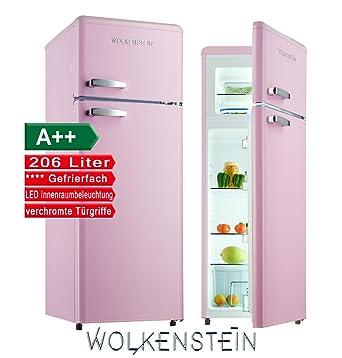 Kühlschrank retro rosa  Retro Kühl-Gefrier-Kombination Pink Glanz GK212.4RT A++ 206 Liter ...