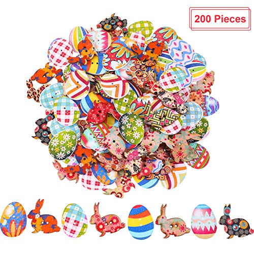 Yaomiao 200 Pieces Easter Wooden Buttons Eater Bunny Egg Buttons for Easter Decoration and DIY Projects, Multi-Color