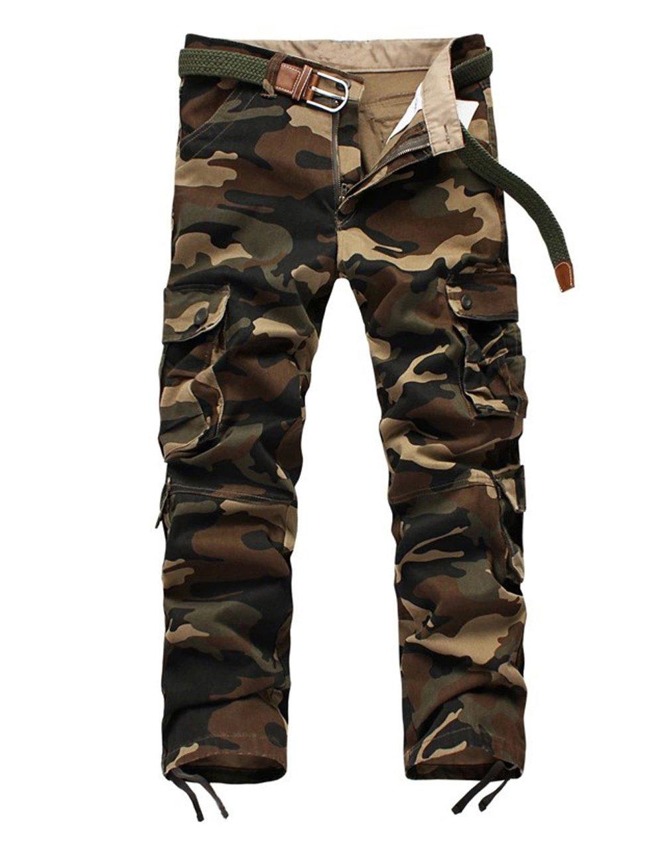 GUSER Men's High Quality Cotton Baggy Camo Cargo Army Style Pants Khaki 32