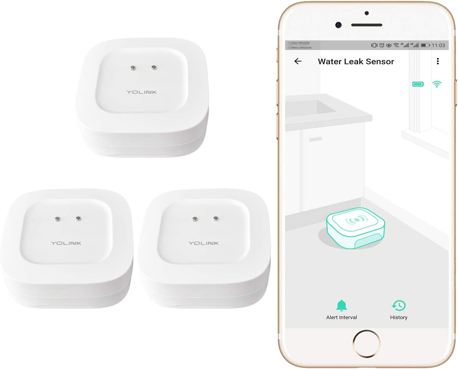 Smart Water Leak Sensor 3 Pack, YoLink 1/4 Mile World's Longest Range Wireless Water Sensor Work with Alexa IFTTT, Water Leak Detector with App Notifications and Remote Monitoring, YoLink Hub Required