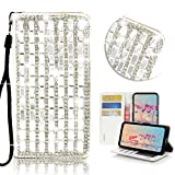 STENES iPhone SE Case - Stylish - 3D Handmade Bling Crystal Pearl Lattice Design Wallet Credit Card Slots Fold Stand Leather Cover Case for iPhone 5/ iPhone 5S/ iPhone SE - White