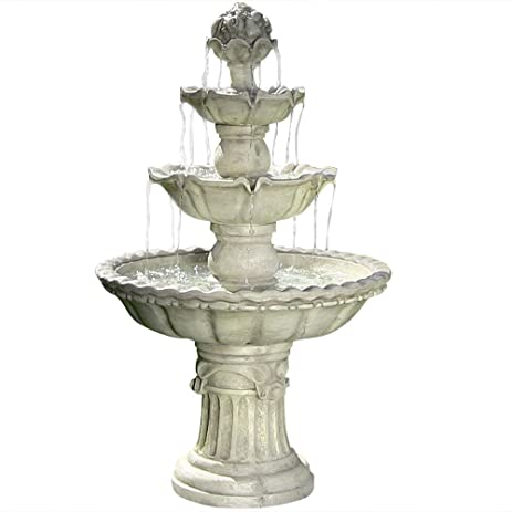 Sunnydaze Four Tier White Electric Water Fountain With Fruit Top, 52 Inch  Tall