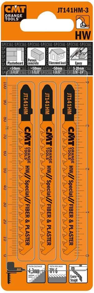 CMT JT141HM-3 Hojas de sierra de calar con punta de carburo para placas de yeso y cemento de fibra, T-shank-3 unidades, 0 W, 0 V, I 3 | L 4 | TPI 6 | PKG 3