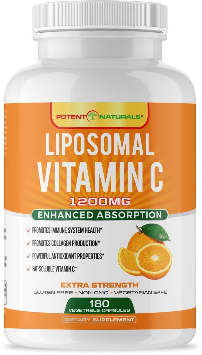 POTENT NATURALS Liposomal Vitamin C 1200mg - 180 Capsules | Higher Bioavailability Antioxidant & Immune System Support | Fat-Soluble VIT C | Promotes Collagen Production - Lypo Spheric| Non GMO