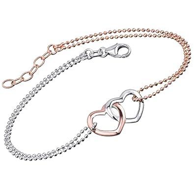 20c1602d48e4d Materia #SA-76 Bracelet pour femme en argent 925, plaqué or rose, 18 ...