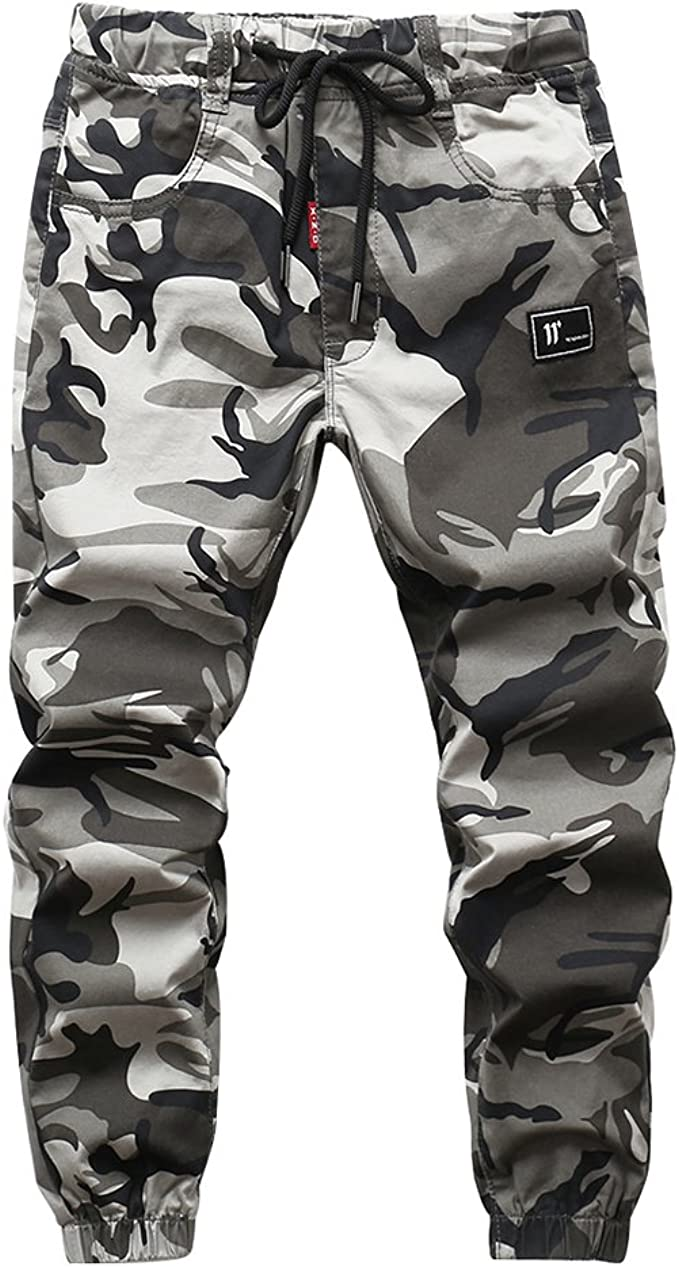 CNMUDONSI Boys Pull On Drawstring Jogger Pants Long Casual Camouflage Cuff Jogging Bottoms