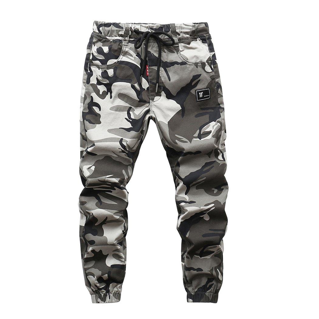 LOKTARC Boys Pull On Jogger Pants Camo Print Cuff Jogging Bottoms Grey(Regular Fit) 13-14T