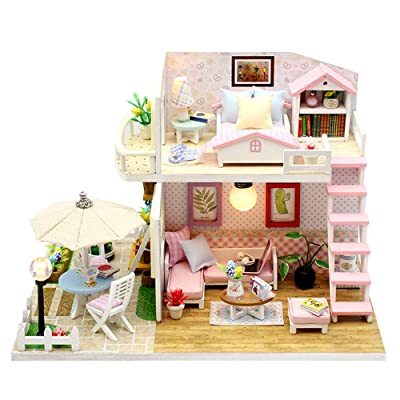 TODY Pink DIY Miniature Dollhouse Kit for Adults with Furniture Romantic Artwork Gift Mini Wooden Dollhouse with Led Light Sweet Cute Girls Toy Birthday Manual Educational Kit: Toys & Games