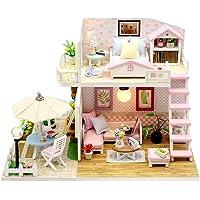 Pink DIY Miniature Dollhouse Kit DIY Attic Kit with Furniture Romantic Artwork Gift Mini Wooden Dollhouse with Led Light…