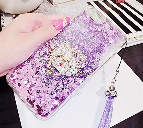 DVR 4000 iPhone 5S Case,Luxury Shiny Bling Glitter Moving Liquid Quicksand Dynamic Sparkle Diamond Ring Kickstand Soft TPU Case Cover for iPhone 5/5S/SE,NO5 (Iphone 5s Cases Hello Kitty)