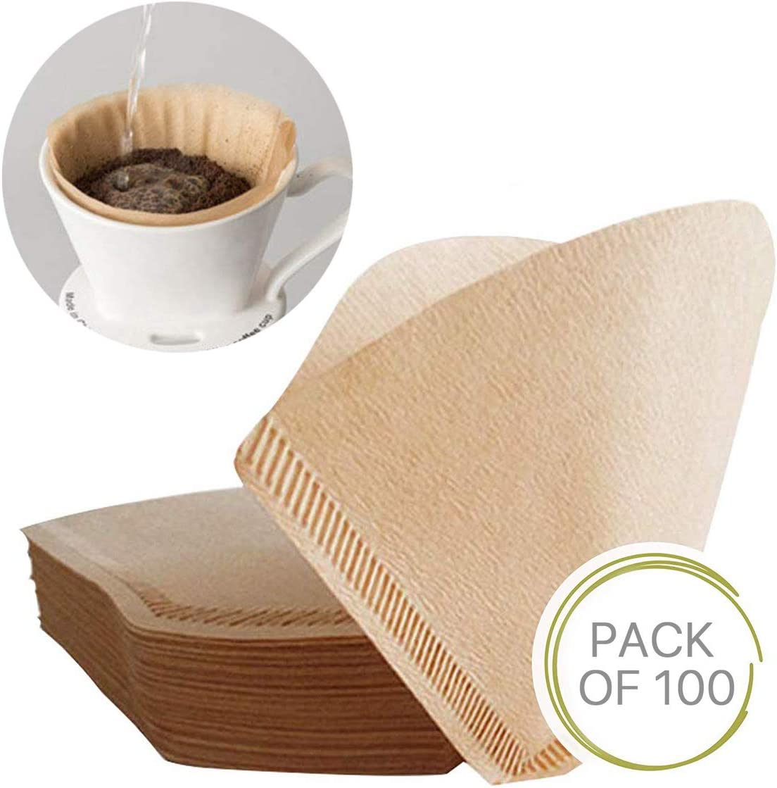 100Pcs Size 2 Special 102 Coffee Filter Paper Disposable Natural Unbleached Original Wooden Drip Paper Suitable für Coffee Machines und Coffee Cones