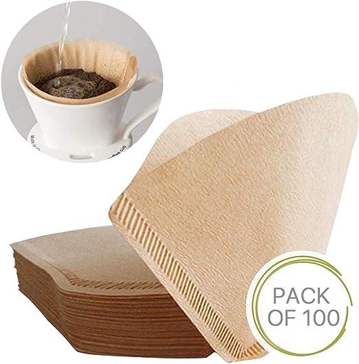 100 piezas tamaño 2 especial 102 filtro de café desechable natural sin blanquear papel de goteo original apto para máquinas de café y conos de café: Amazon.es: Hogar