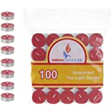 Mega Candles - Unscented Tea Light Candles - Red, Set of 100 CGA083-R