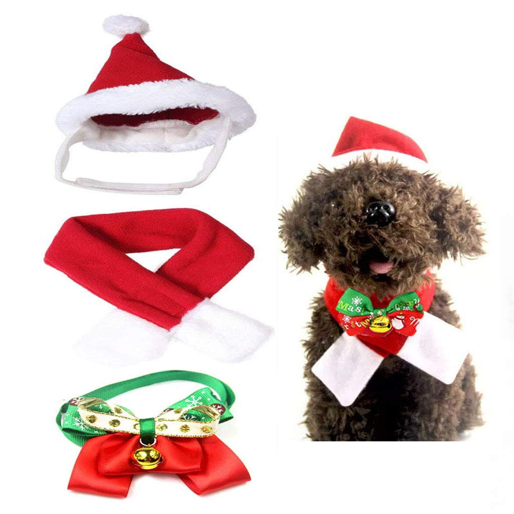 LIZHIGE 4 Pieces Christmas Pet Hat Scarf Collar Bow Tie Bell for Small Dogs Cats Pet Pet Christmas Costume for Cats and Small Dog