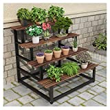 ZHANWEI Plant Flower Stand Flower Pots Holder Iron Art Ladder-Shaped Floor-Standing Multi-Layer Multifunction Wood Shelf, 2 Colors, 3 Sizes (Color : B, Size : 80x120x88cm)