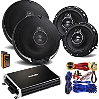 "(4) Kenwood KFC-1695PS 320W 6.5"" 3-Way Speaker + Kicker 250 Watt Full Range 4 Channel Car Audio Amplifier + Amp Kit"