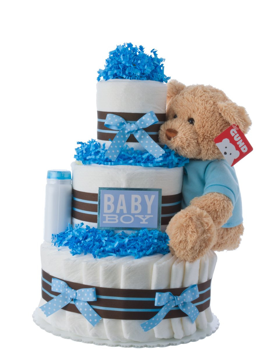 Diaper Cake - Darling Boy Theme Handmade By Lil Baby Cakes - Baby Boy Gift - Makes a Great Baby Shower Centerpiece
