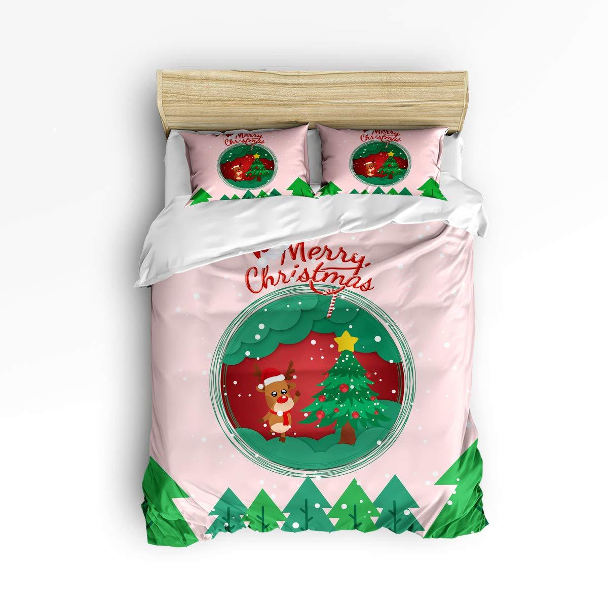 NewThangKa 3ピース寝具セット – 1ソフトダウン掛け布団キルト寝具カバーマッチング2枕カバーとジッパー開閉、レッドローズは愛の寝具布団カバーセット Twin Size WSJ-181122-3pcsets-SWTQ00401SJSANTK B07L84LMY6 Christmasmooseelkntk4611 Twin Size