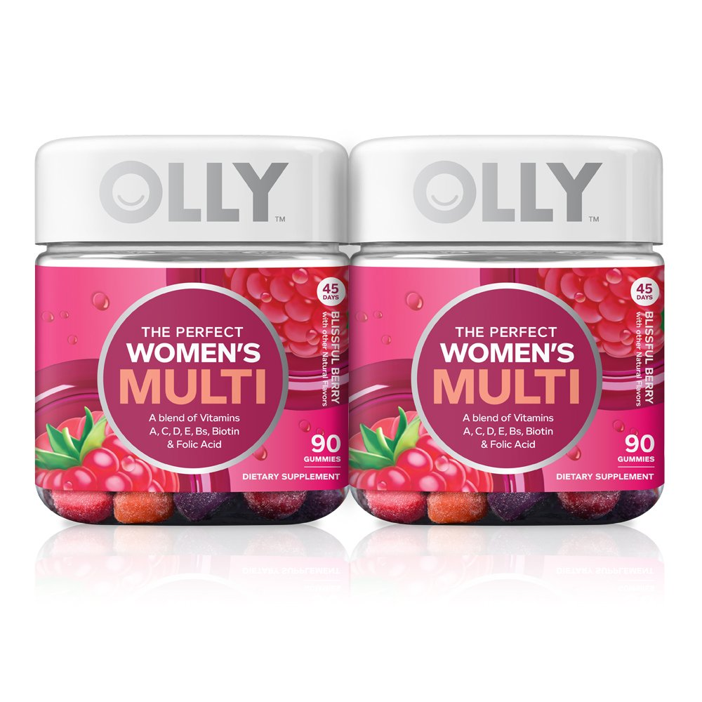 OLLY The Perfect Womens Gummy Multivitamin, 90 Day Supply 180 Gummies , Blissful Berry, Vitamins A, D, C, E, Biotin, Folic Acid, Chewable Supplement